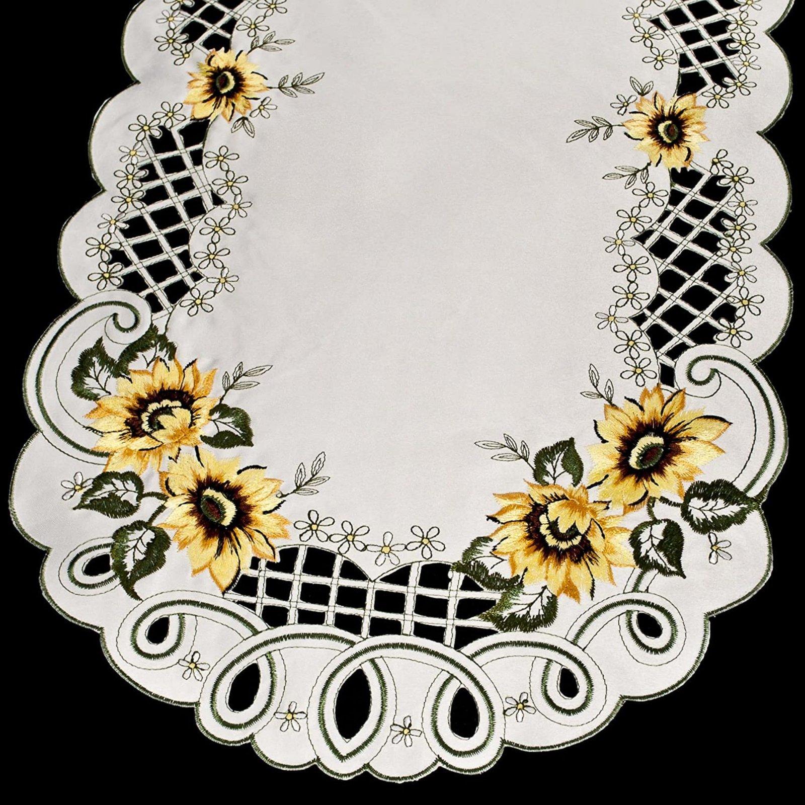 embroidered sunflower table runner