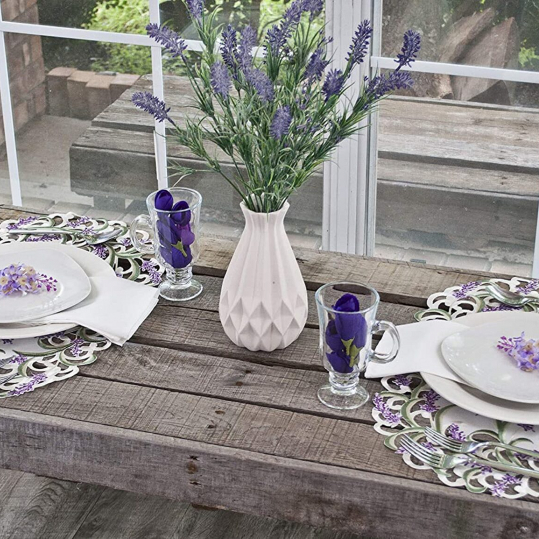 embroidered lavender lilac floral placemat