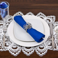 european white peacock lace placemat