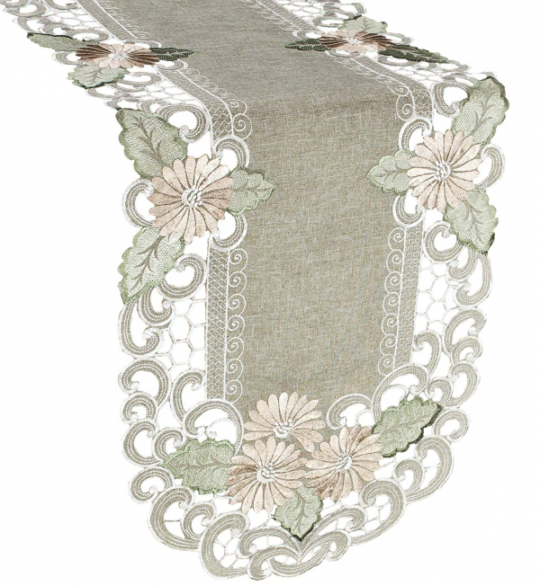 embroidered gold daisy linen table runner