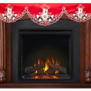 """Christmas Embroidered White Candle on Red Fireplace Mantle Scarf 19"""" X 90"""""""