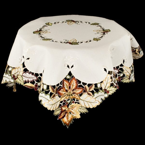 embroidered fall maple leaf table topper