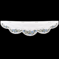 embroidered blue rose window valance