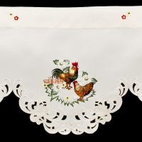 embroidered rooster window valance
