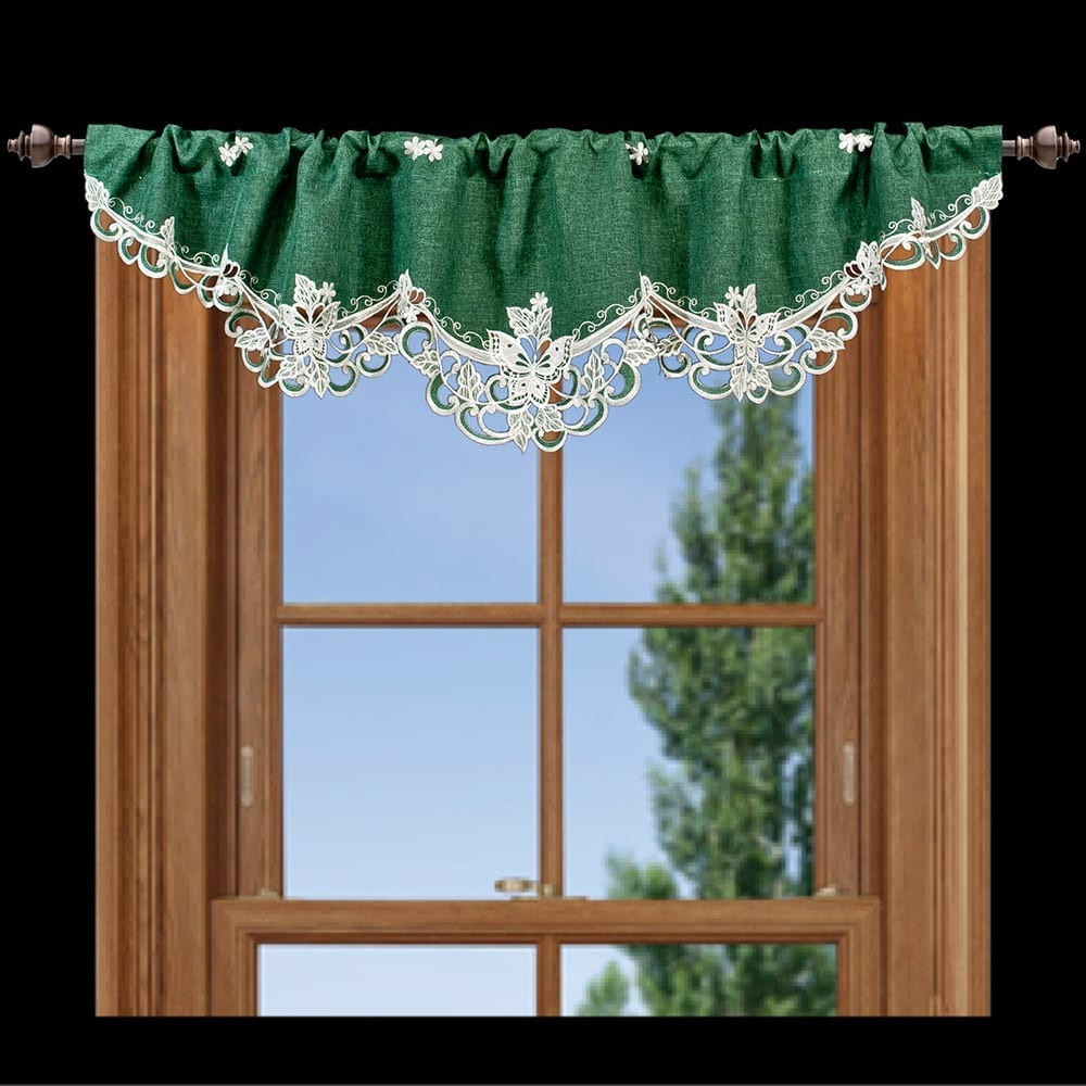 embroidered white butterfly window valance