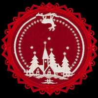 embroidered christmas white church deer red doily