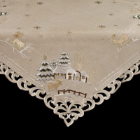 embroidered christmas snow scene reindeer table topper