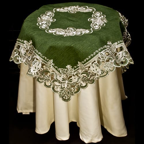 White Butterfly Green Linen Table Topper