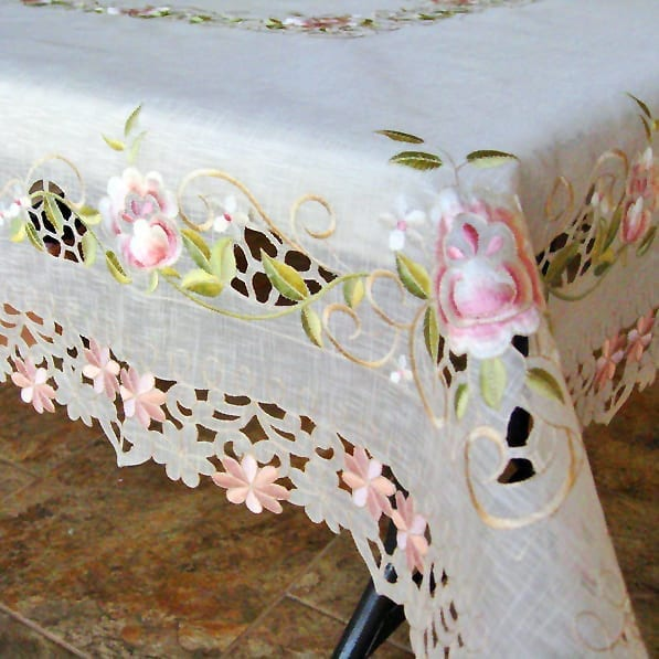 Pink Rose Sheer Table Cloth