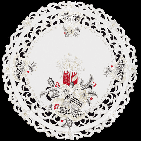Red Candles Lace Bells Doily