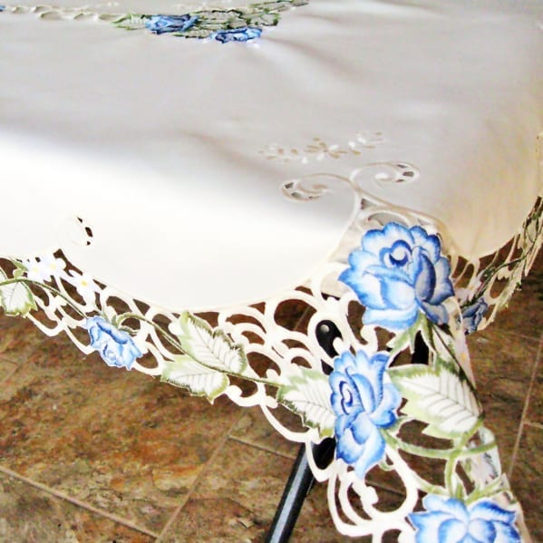 Blue Rose Linen Table Cloth