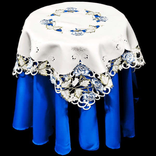 embroidered blue rose table topper