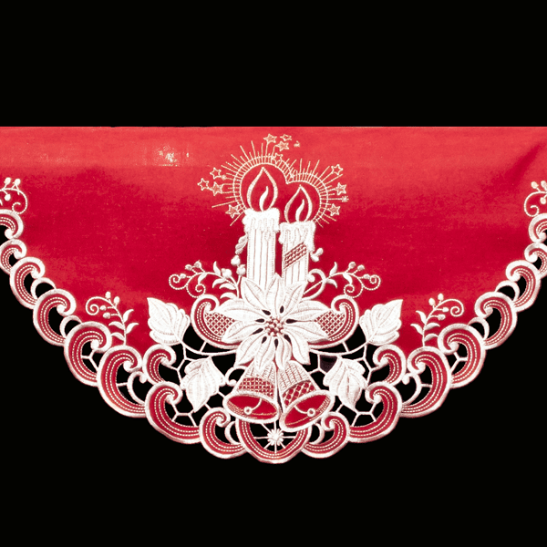 Red White Candle Christmas Mantle Scarf