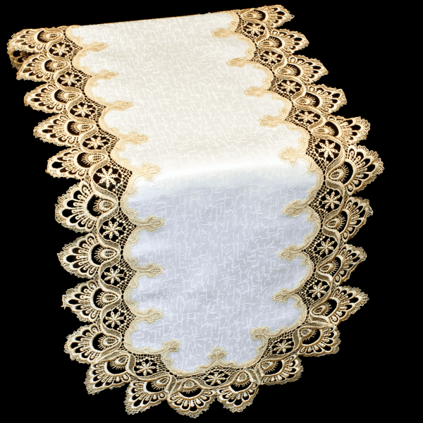 european gold peacock lace table runner