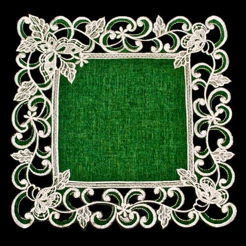 White Butterfly on Green Doily