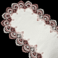 mauve peacock tail lace table runner