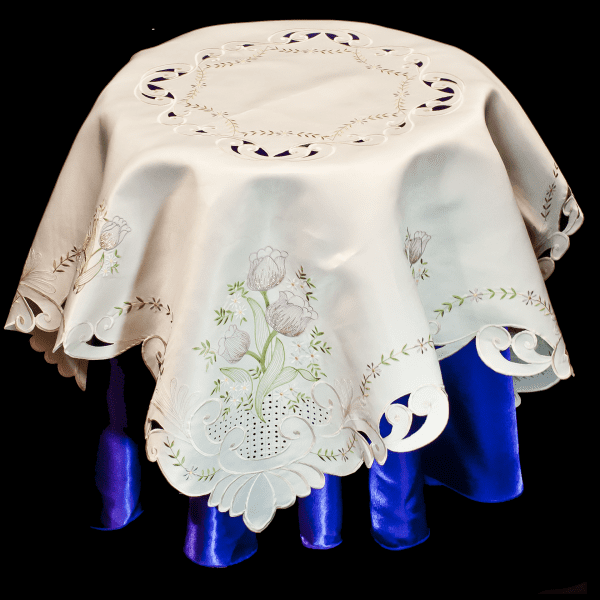 embroidered purple tulip table topper