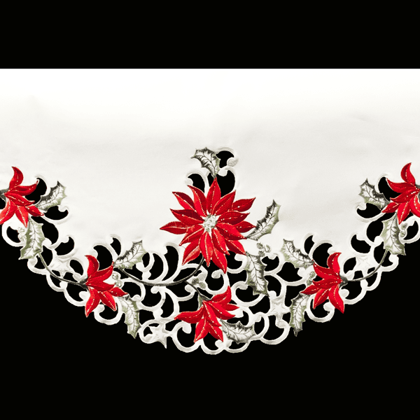 Red Poinsettia Christmas Mantle Scarf 3
