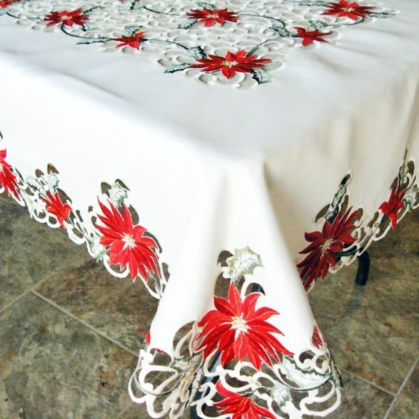 Delicieux Red Poinsettia Cream Table Cloth