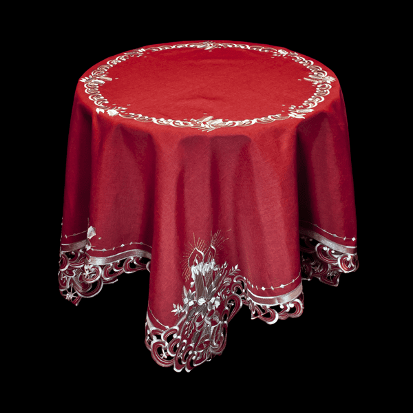 RED CHRISTMAS WHITE CANDLE TABLE CLOTH