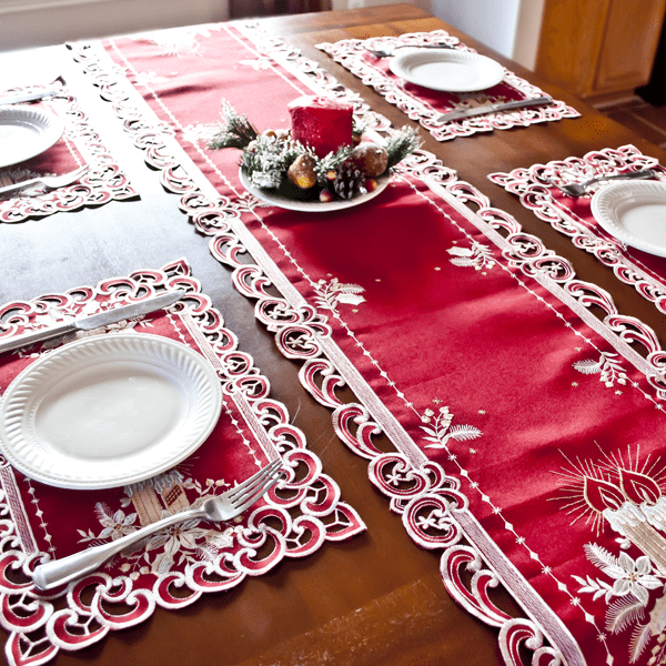 Superior Red White Candle Christmas Table Runner