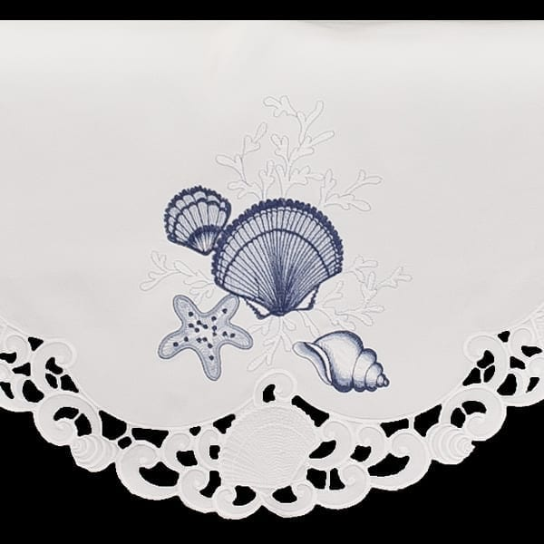 """Embroidered Blue Seashell Coral White Fireplace Mantle Scarf 19"""" X 90"""""""