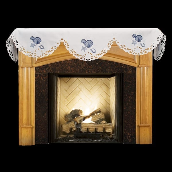 Embroidered Blue Seashell Coral White Fireplace Mantle