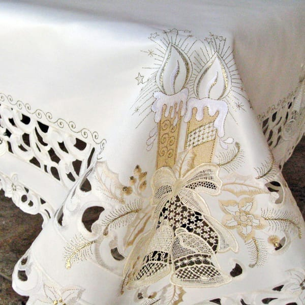 Gold Candle Lace Bell Christmas Tablecloth