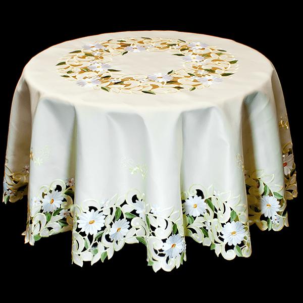 White Daisy Green Leaves White Table Topper 2
