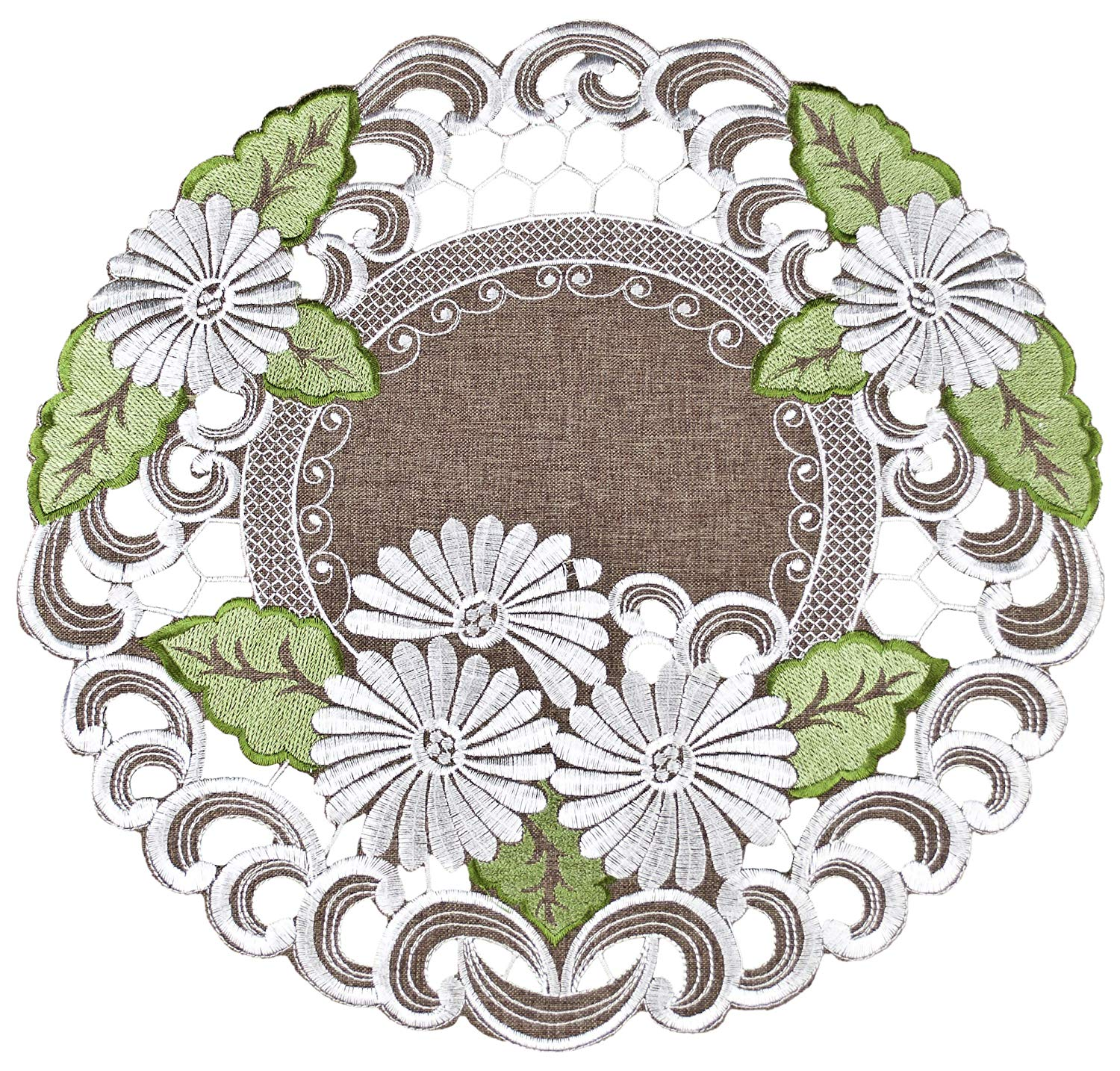 embroidered white daisy on brown doilies – 24 inch diameter