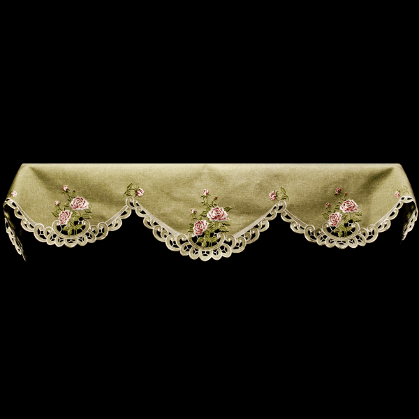 embroidered antique pink rose mantle scarf