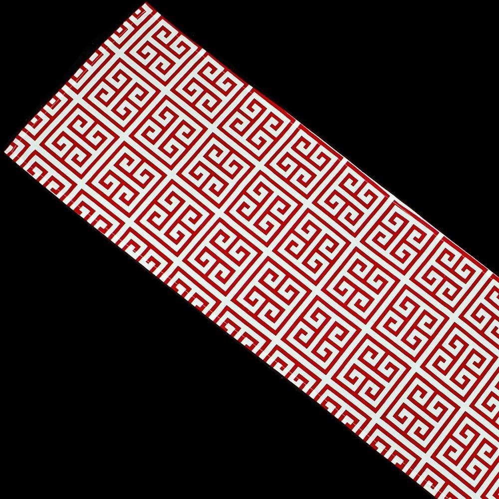 greek key red pattern table runner