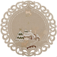 embroidered christmas winter scene doily