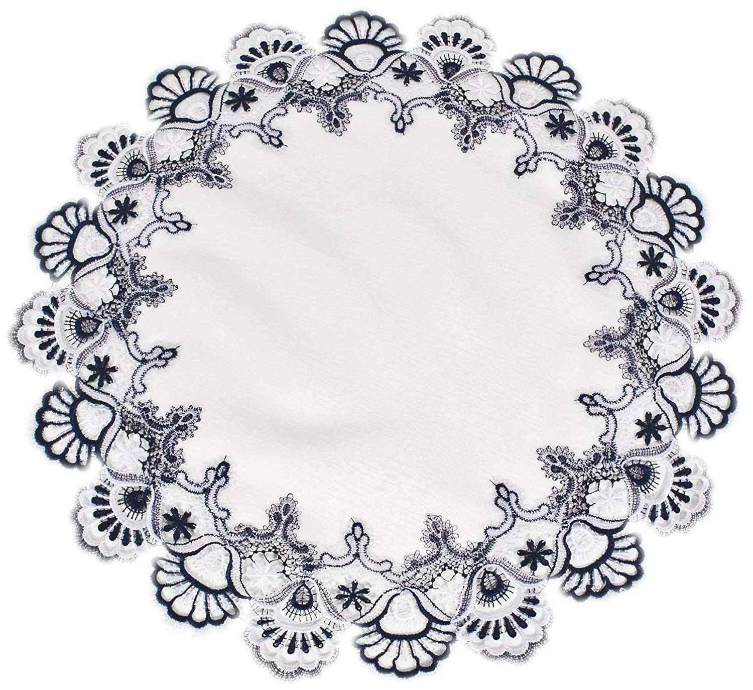 "Classic Rose Lace Doily European Round 12/"" Table Topper Antique White"
