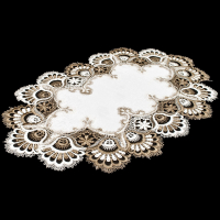 two tone brown cocoa lace on white placemat