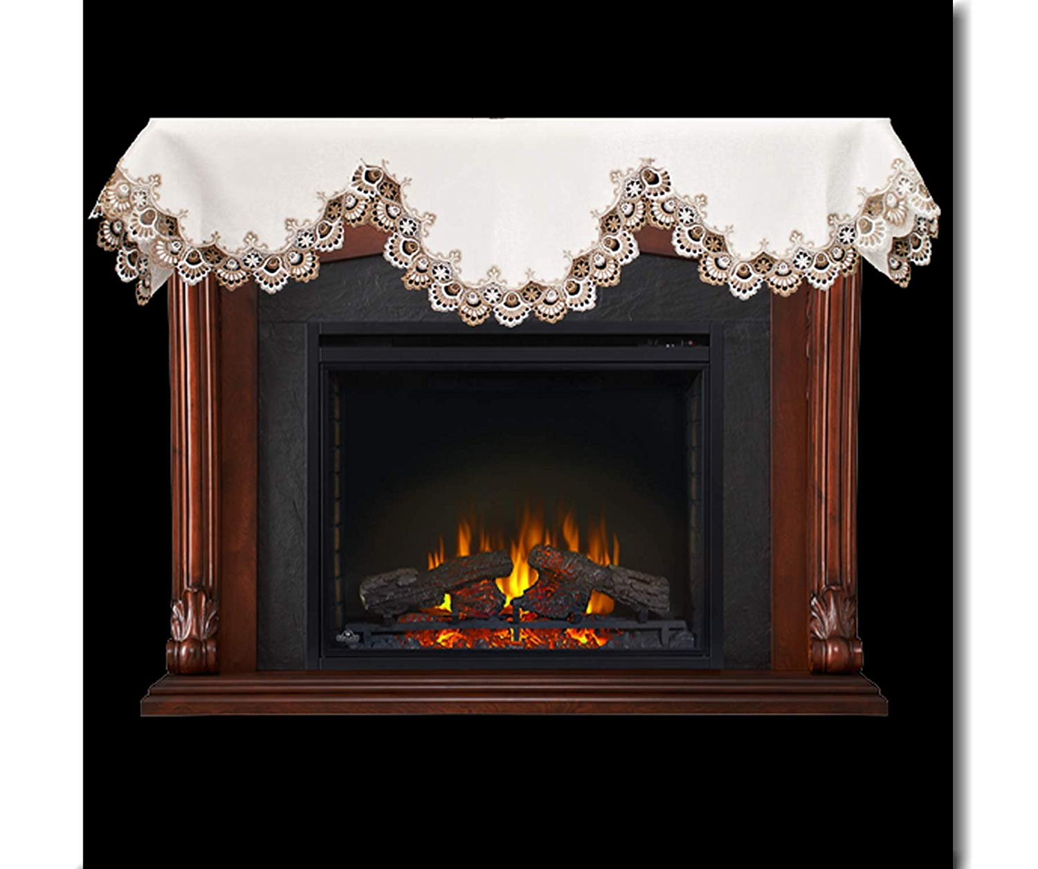 fireplace mantel scarf cocoa lace
