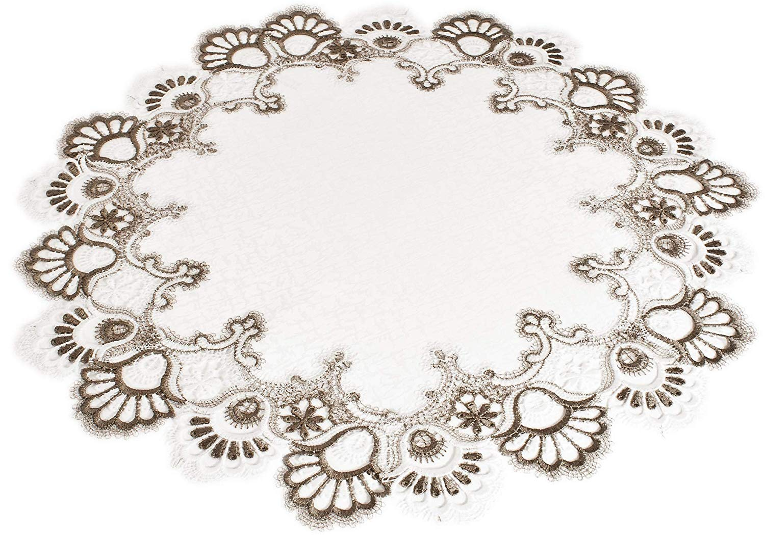White Cocoa Earth Tones Jacquard Pea Tail Lace Doily Placemat Table Centerpiece