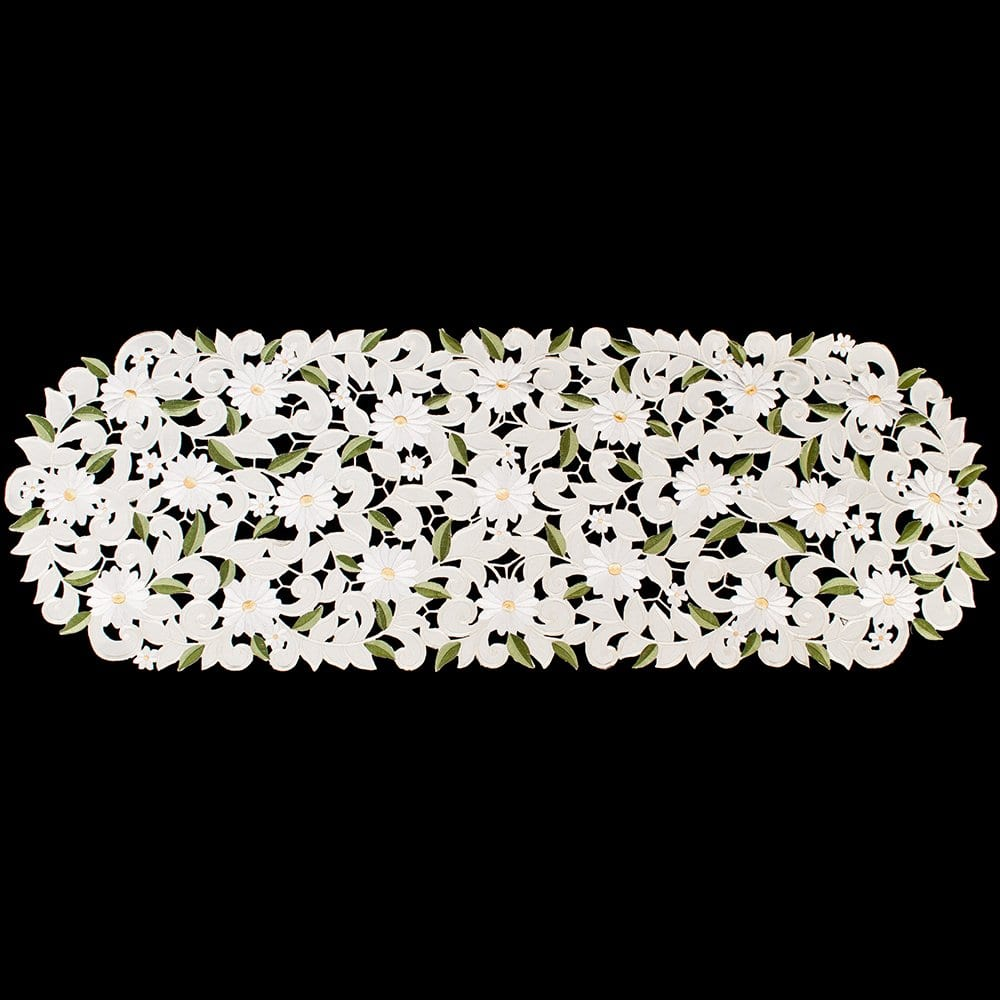 Embroidered Cut Work White Daisy On Ivory Table Runner Dresser Scarf