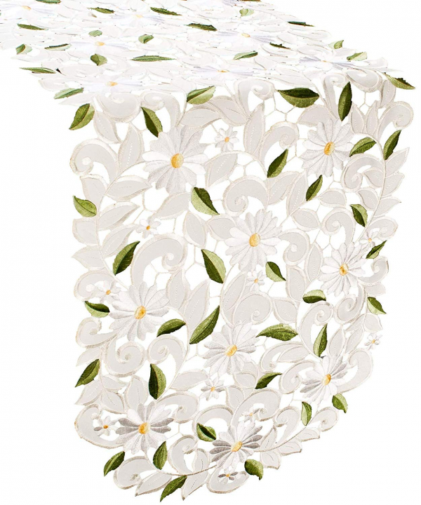 embroidered white daisy on ivory table runner