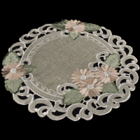 embroidered gold daisy round doily