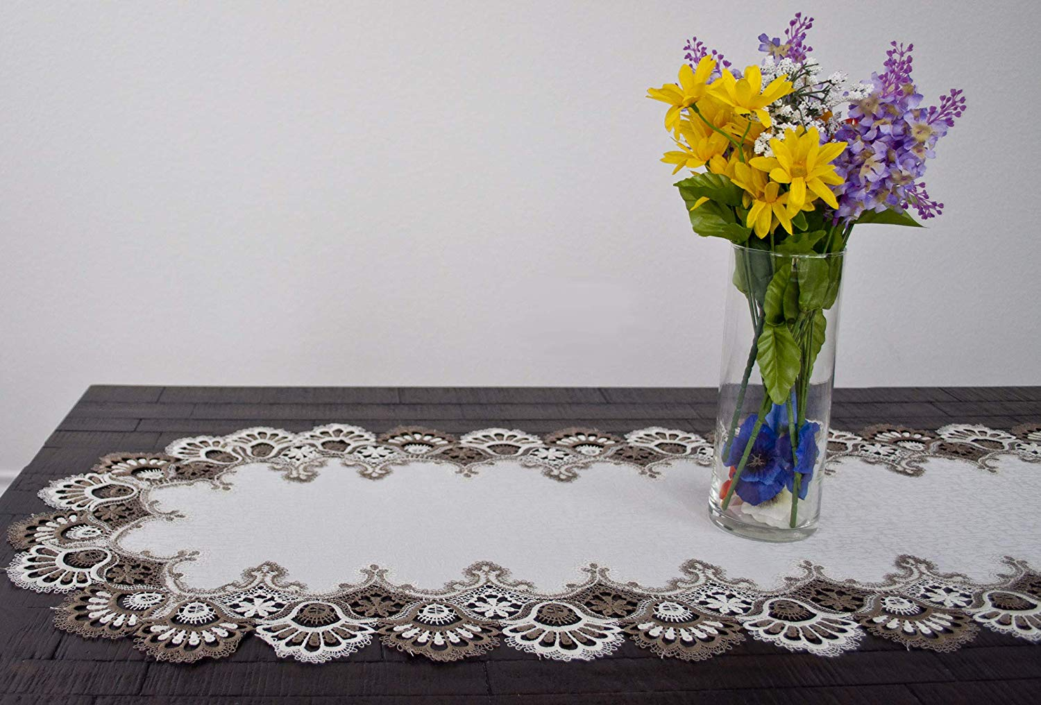 cocoa lace table runner – 16 x 43