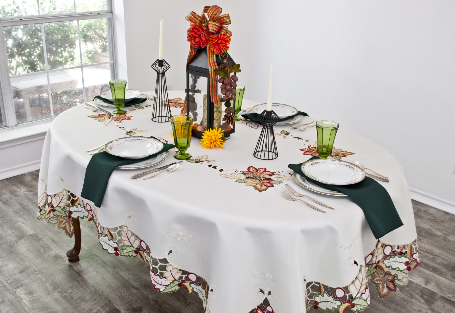 embroidered maple leaf tablecloth