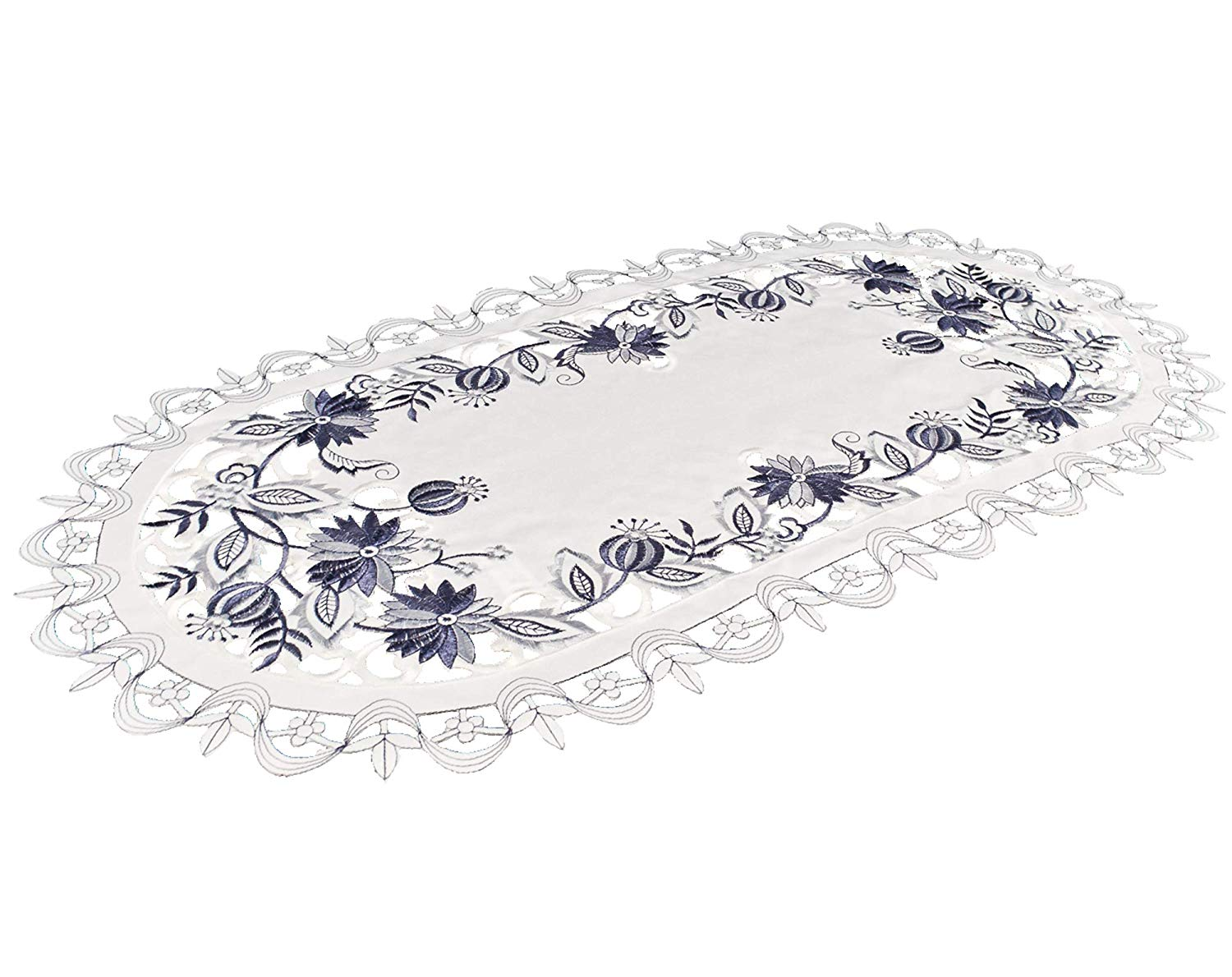 embroidered delft blue onion flower table runner
