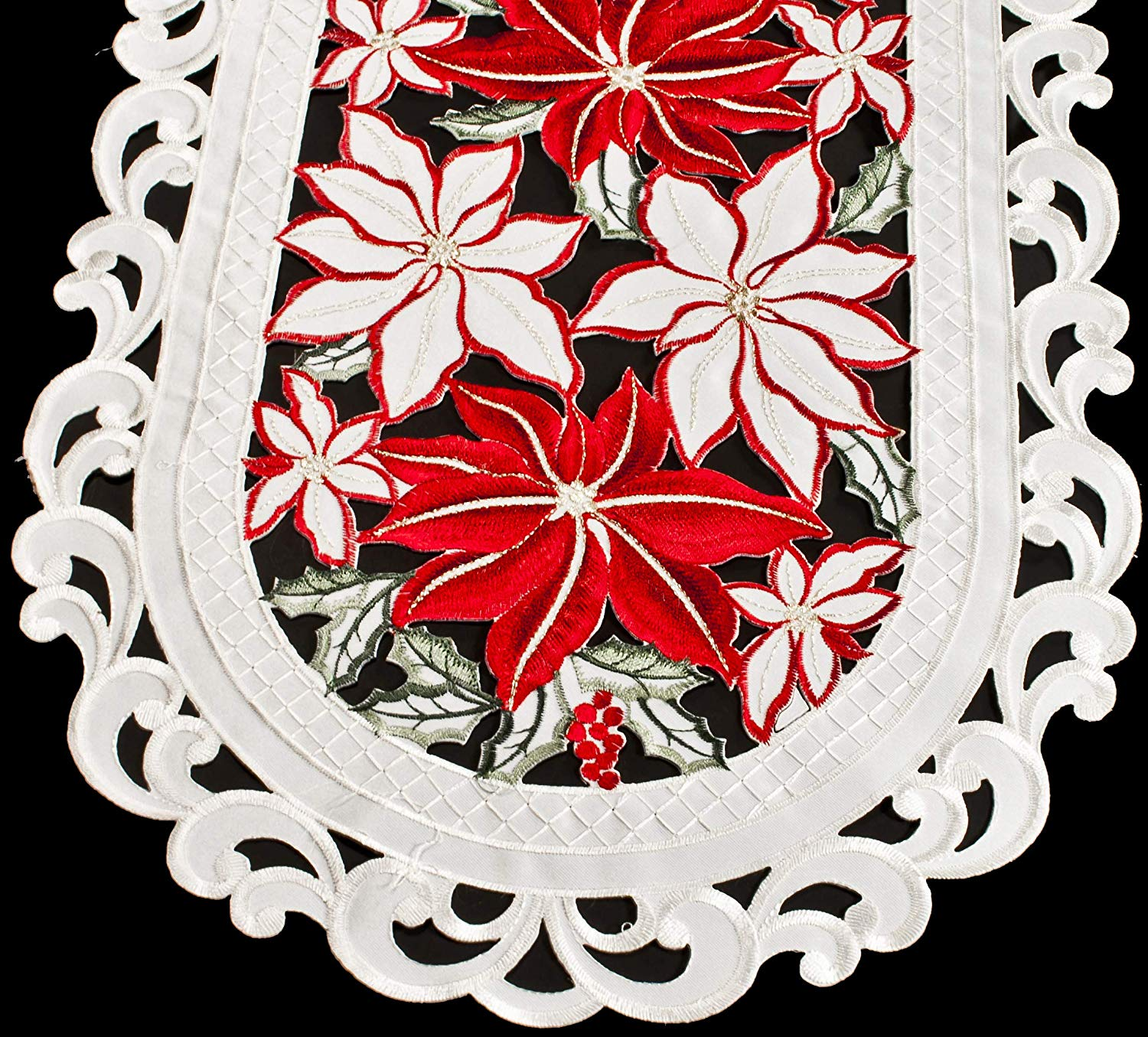 embroidered large poinsettia table runner