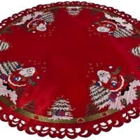 36″ inch embroidered santa claus round doily