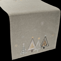 embroidered modern triangle christmas trees table runner – 16 x 70 rectangle