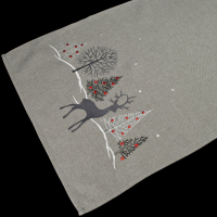 embroidered christmas reindeer christmas scene table runner – 16 x 35 rectangle