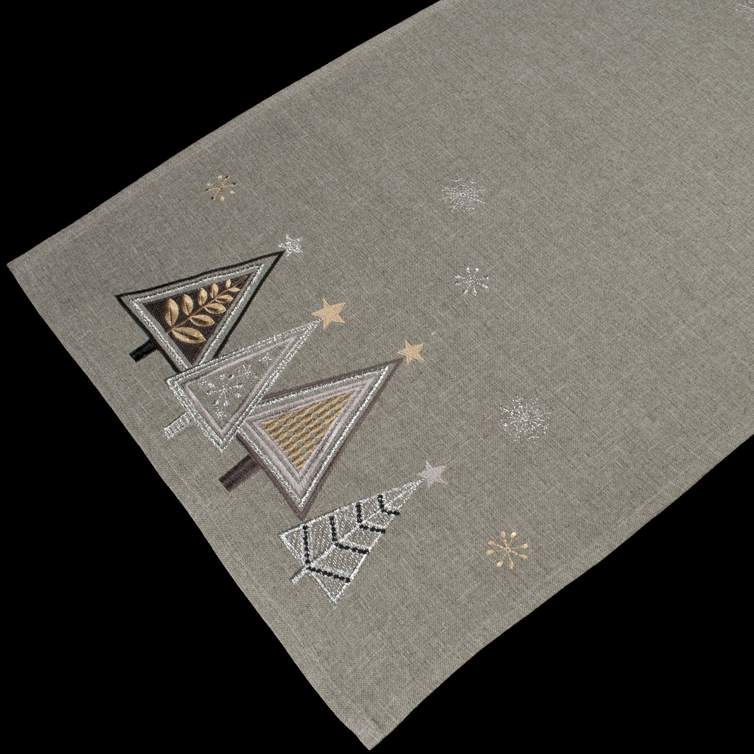 embroidered modern triangle christmas trees table runner
