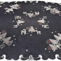 embroidered silver reindeer table topper