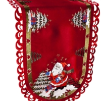 embroidered christmas santa claus table runner – 16 x 34 oval